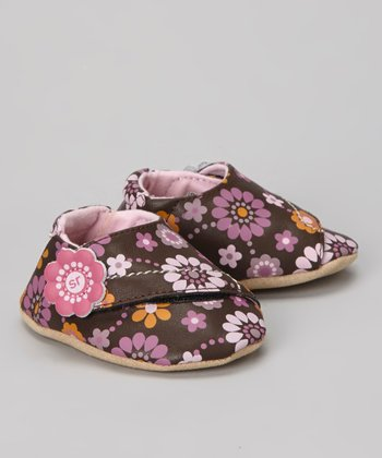Brown & Pink Crib Floral Fun Bootie