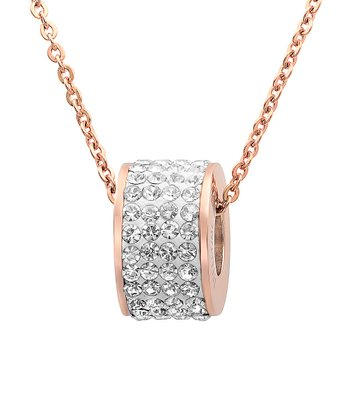 Rose Gold & Simulated Diamond Eternity Pendant Necklace