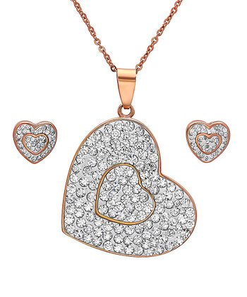 Rose Gold & Simulated Diamond Heart Pendant Necklace & Earrings
