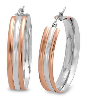 Rose Gold Layered Hoop Earrings