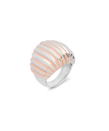 Rose Gold & Silver Ribbed Ring