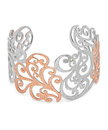 Rose Gold & Silver Flourish Glitter Cuff