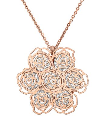 Rose Gold & Simulated Diamond Rose Cutout Pendant Necklace