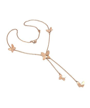 Rose Gold & Simulated Diamond Butterfly Pendant Necklace