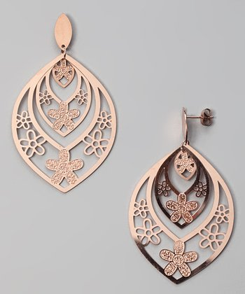 Rose Gold Daisy Cutout Earrings