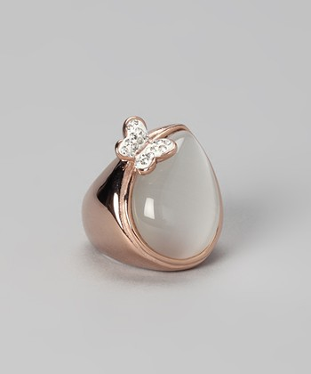 Rose Gold & Jade Butterfly Cocktail Ring