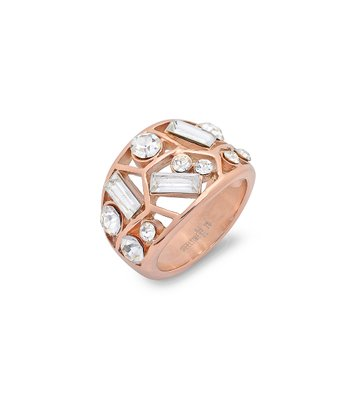 Rose Gold & Simulated Diamond Cutout Cocktail Ring