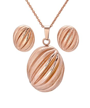 Rose Gold Oval Hammered Pendant Necklace & Earrings