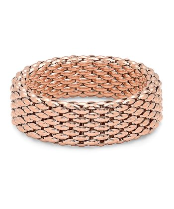 Rose Gold & Stainless Steel Chain-Link Italian Stretch Bracelet