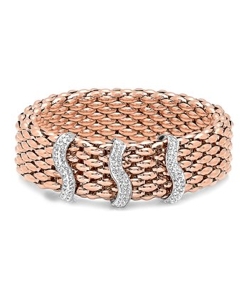 Rose Gold & Simulated Diamond Chain-Link Italian Stretch Bracelet