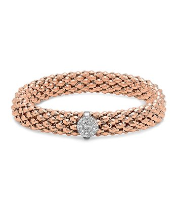 Rose Gold & Simulated Diamond Solitaire Italian Stretch Bracelet