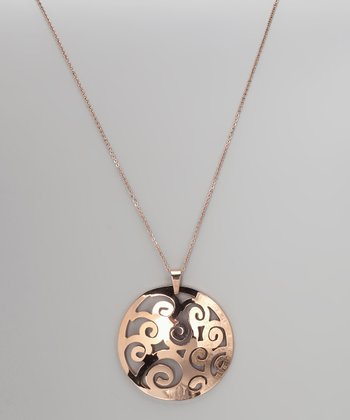 Rose Gold Spiral Cutout Pendant Necklace