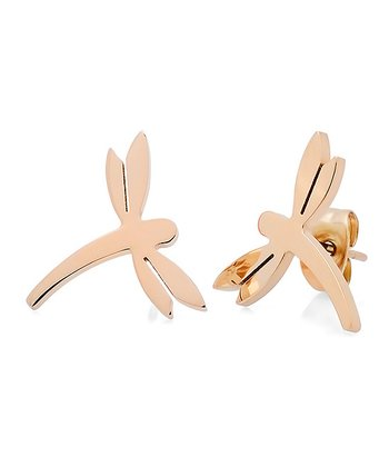 Rose Gold Dragonfly Stud Earrings