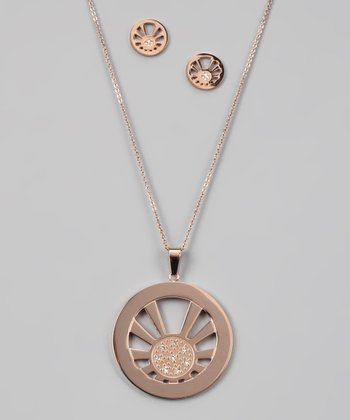 Rose Gold & Simulated Diamond Sunrise Pendant Necklace & Earrings