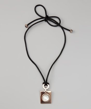 Rose Gold & Mother of Pearl Greek Key Pendant Necklace