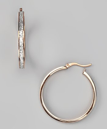 Rose Gold Glitter Inlay Hoop Earrings