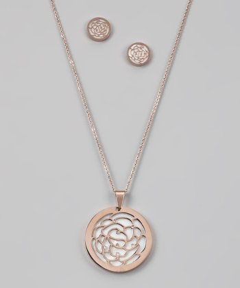Rose Gold & Simulated Diamond Rose Pendant & Earrings