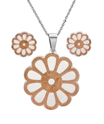 Rose Gold & Stainless Steel Daisy Pendant Necklace & Earrings