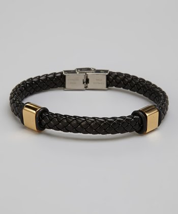 Black & Gold Stainless Steel & Leather Braided Bracelet