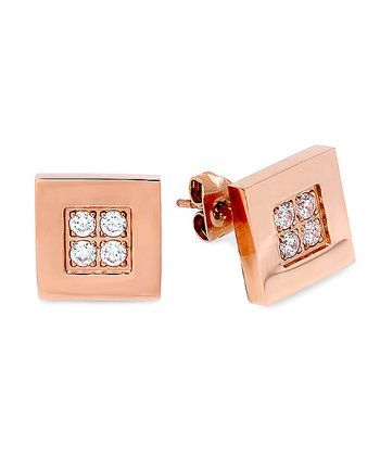 Diamond & Rose Gold Square Earrings