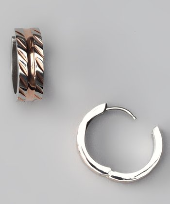 Rose Gold Embossed Slashes Mini Hoop Earrings