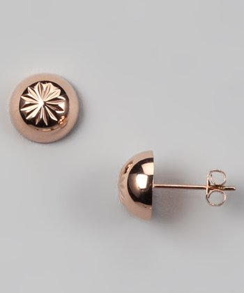 Rose Gold Floral Embossed Stud Earrings