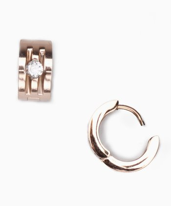 Rose Gold & Cubic Zirconia Huggie Earrings