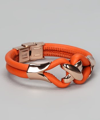 Rose Gold & Orange Leather Bracelet