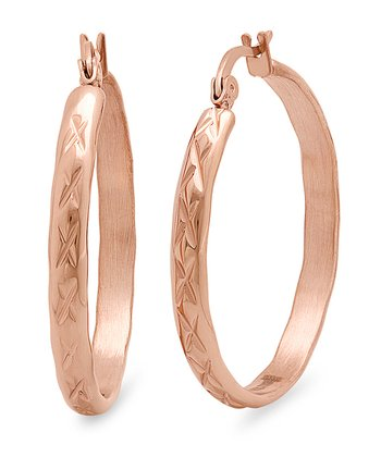 Rose Gold X Embossed Hoop Earrings