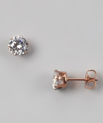 Rose Gold & Simulated Diamond Stud Earrings