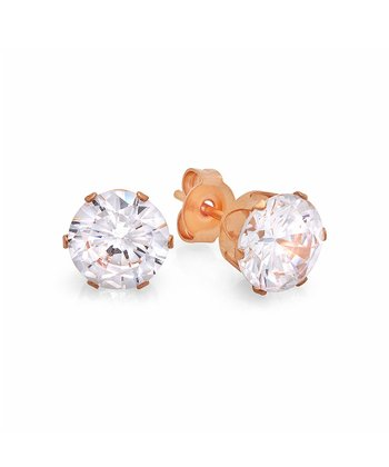 Rose Gold & Simulated Diamond Post Earrings