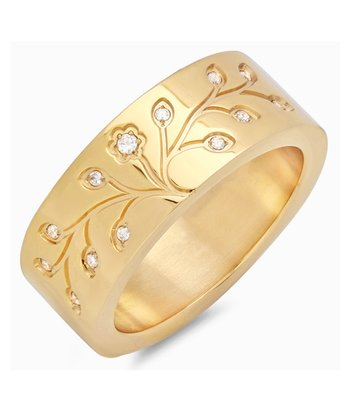 Gold Shimmer Tree Of Life Ring