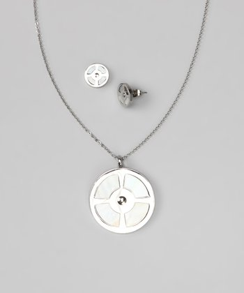 Silver & Mother-of-Pearl Circular Pendant Necklace & Earrings