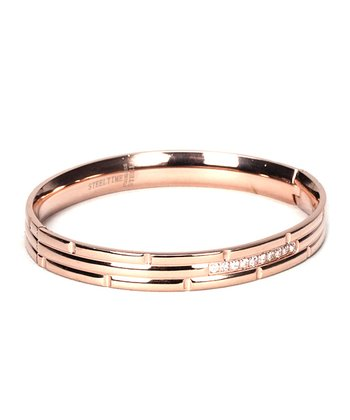 Rose Gold & Simulated Diamond Bangle