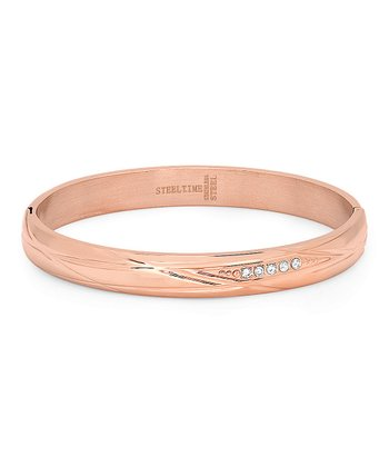 Rose Gold & Simulated Diamond Embossed Bangle