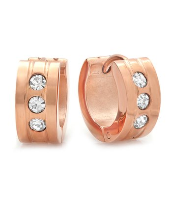 Diamond & Rose Gold Shimmer Huggie Earrings