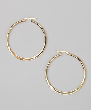Gold & Simulated Diamond Hoop Earrings