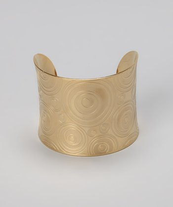 Gold Engraved Circles Cuff