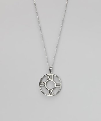 Silver Roman Numeral Clock Pendant Necklace