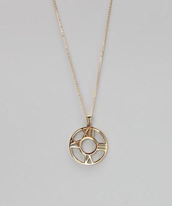 Gold Roman Numeral Clock Pendant Necklace