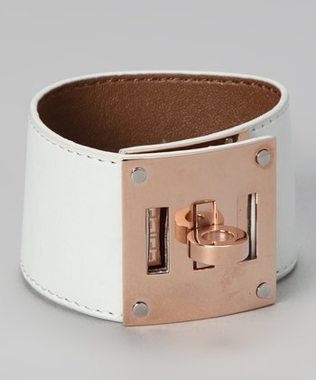 Rose Gold & White Leather Bracelet