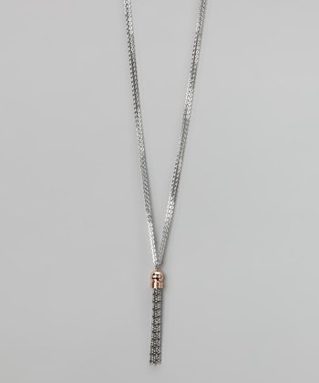 Silver & Rose Gold Simulated Diamond Layette Necklace