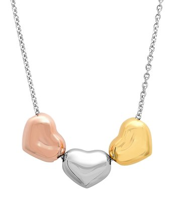 Rose Gold & Silver Heart Pendant Necklace