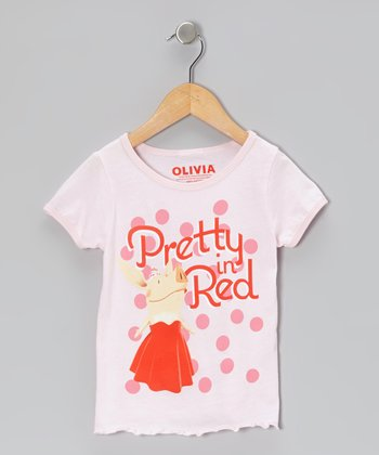 Pale Pink 'Pretty in Red' Tee - Toddler & Girls
