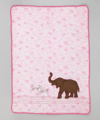 Pink Elephant Toddler Blanket