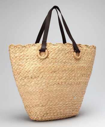 Natural Raffia Braid Leather Strap Veracruz Tote