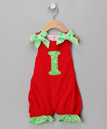 Red 'I' Corduroy Romper - Infant