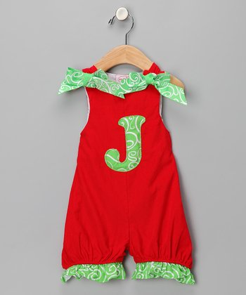 Red 'J' Corduroy Romper - Infant