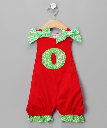 Red 'O' Corduroy Romper - Infant