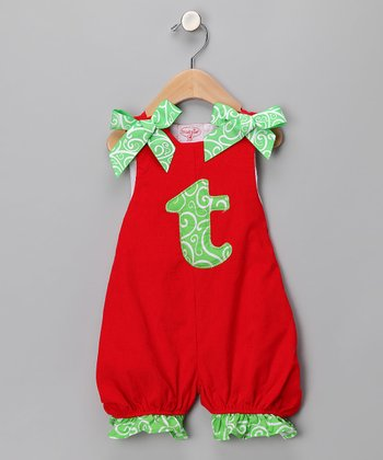 Red 'T' Corduroy Romper - Infant